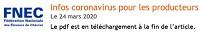 Infos coronavirus pour les producteurs laitiers fermiers
